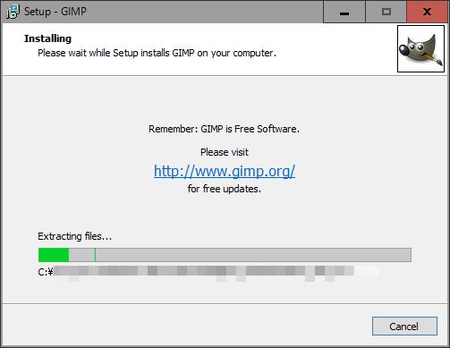 GIMP 最新版インストール中