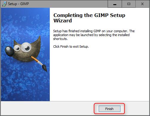 GIMP インストールの完了
