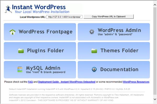 Instant WordPressの起動画面