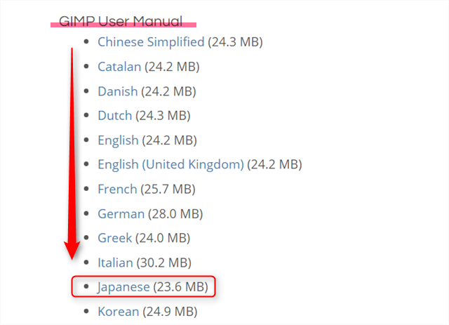 GIMP ユーザーマニュアルダウンロード
