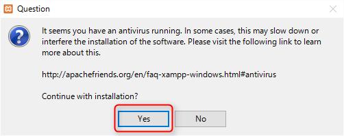 XAMPPインストール時のセキュリティ警告